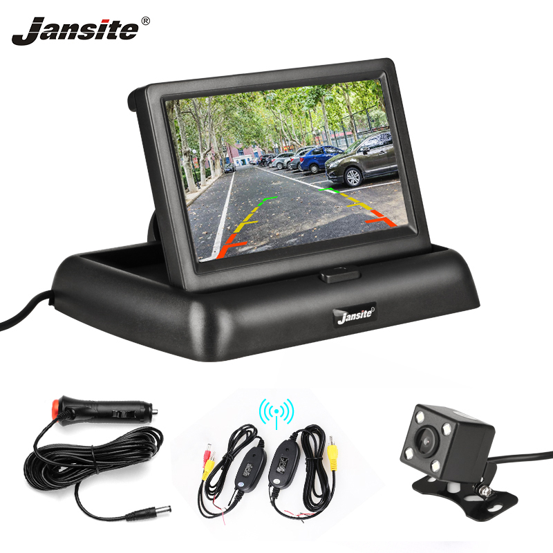 Jansite 4 3 Wirless Car Monitor TFT LCD fold Car Rear View monitor Display Parking Rearview