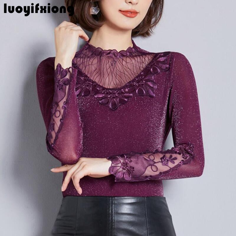 2019 New Fashion Embroidery Spliced Lace   Blouse   Women   Shirts   Long Sleeve Slim   Blouse     Shirt   Plus Size Ladies Tops Blusas Mujer