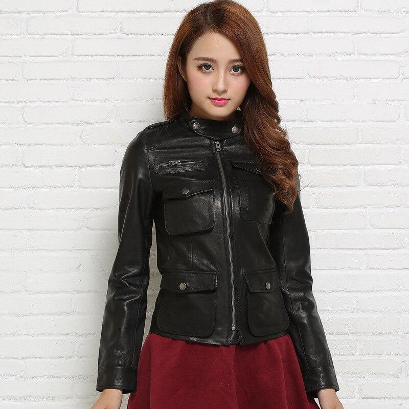 buy 2016 new women 39 s genuine leather jacket 100 real goat skin black soft slim. Black Bedroom Furniture Sets. Home Design Ideas