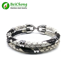 цена Wholesale dropship Luxury Bracelets Python Skin Leather Bracelet for Women Man Best Friends Gift pulseira  онлайн в 2017 году