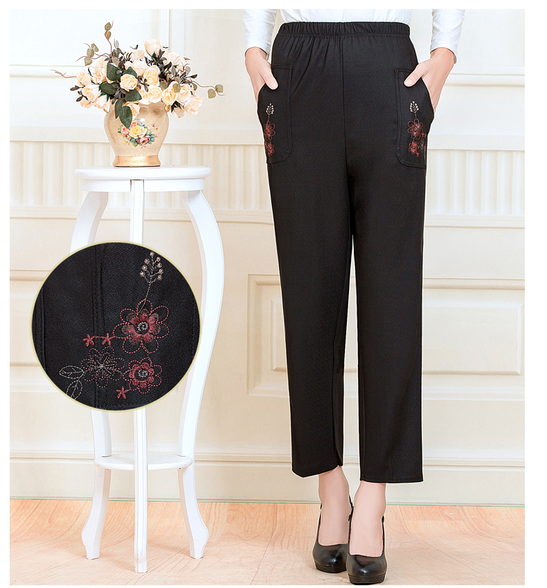 WAEOLSA Chinese Middle Aged Woman Black Pant Autumn Elderly Women Embroidery Trouser Mother Casual Pant 40S 50S 60S (5)