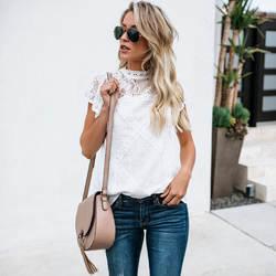 Сексуальная белая кружевная блузка, рубашка для женщин, модные женские блузки с коротким рукавом, женские летние открытые топы