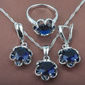 Fahion Band Blue  Stone Women's Stamped 925 Silver Jewelry Sets Necklace Pendant Earrings Rings Free Shipping TZ035
