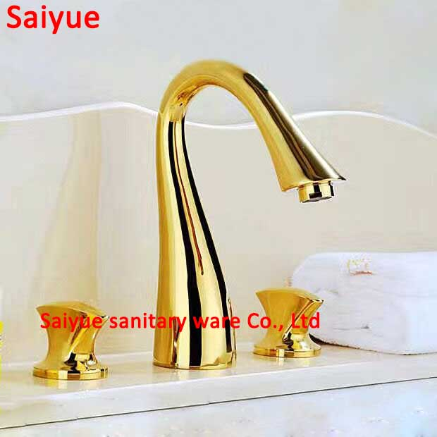 elegant vintage brushed nickel and gold widespread 3pcs bathroom kitchen sink faucet double dual