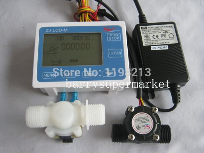 Medidor de Fluxo De água medidor de fluxo salão sensor indicador Contador display LCD + Sensor de Fluxo + válvula Solenóide + Power Adapter DN15 G1/2