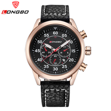 LONGBO Brand Geniune Leather Watch 2016 Fashion Men Waterproof Auto Date Watch Business Casual Wristwatch Relogio