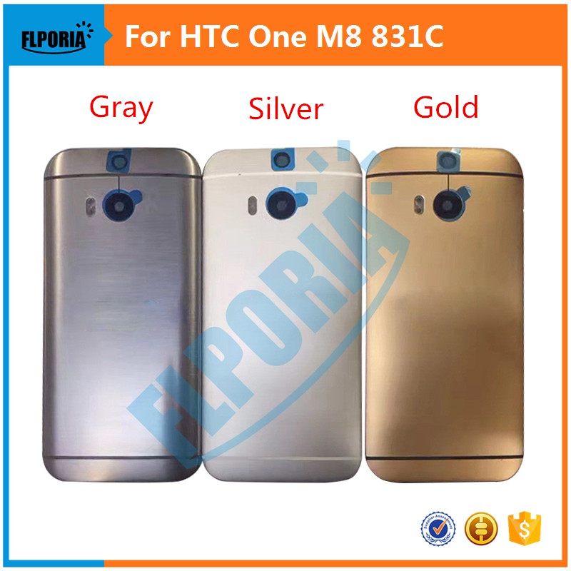 New arrival For <font><b>HTC</b></font> One <font><b>M8</b></font> 831C Back <font><b>Battery</b></font> Cover Rear housing door <font><b>Case</b></font> With Power Volume Button Key +Rear Camera Glass Lens image