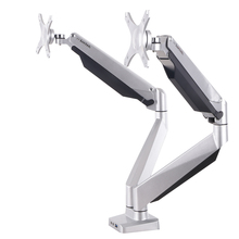 D7D Gas Spring Dual Monitor Holder Desktop LED Display Mount Arm Stand Base With Audio and USB Port Fit 10