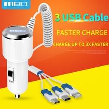 [3 Puertos USB Cable] meidi 7.2a cargador de coche rápido cargador de teléfono móvil con 1 m cable para iphone7 samsungs7 xiaomi tipo c en stock
