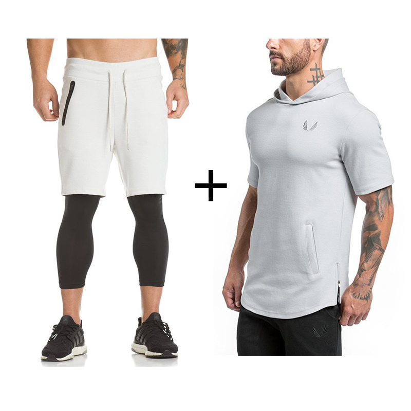 2019 Mens Gyms Sportswear Suit Tight Workout Elasticity Casual Short Sleeve Hoodies+Shorts Cotton Trainings Fitness SportSuit