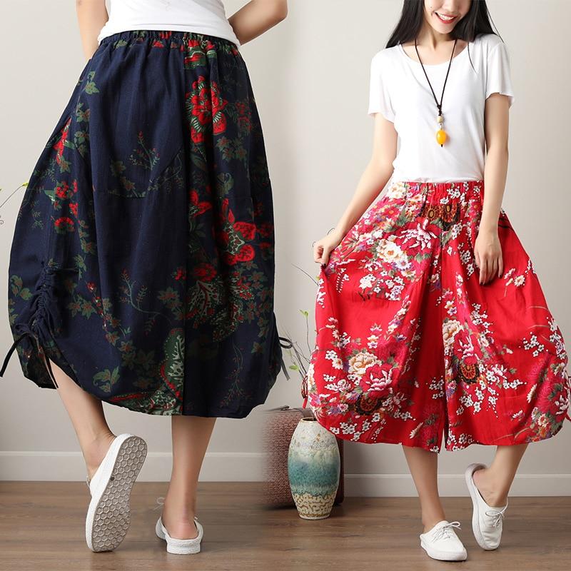 9 Colors Lady Summer Loose Trousers Women Elastic Waist Cotton and Linen Floral Print   Wide     Leg     Pants   Pockets