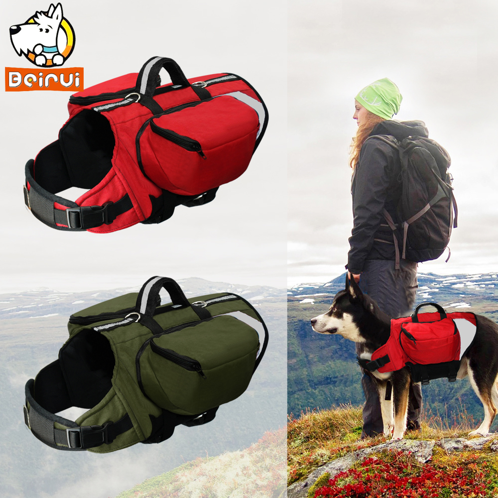 Outdoor Dog Backpack Harness Reflective Dogs Pack Hound Travel Camping Hiking Backpacks  ...