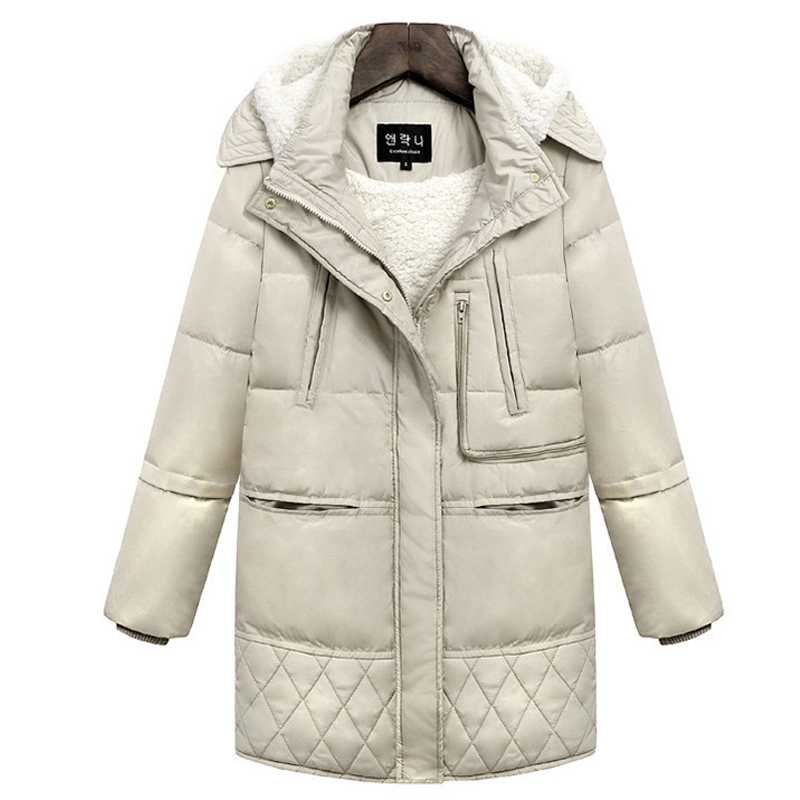 2018 100% White Duck   Down   Winter Jacket Women Parkas Loose Jacket   Coat   Female Medium Long   Down   Parka Plus Size Overcoat 3XL 50