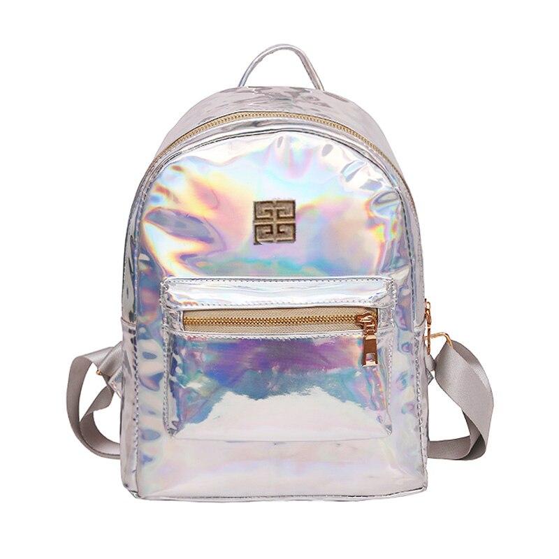 Holograma Mochila рюкзак Для женщин Серебро Голограмма лазерная Рюкзак Школьная Сумка кожа голографическая рюкзак многоцветный SAC DOS