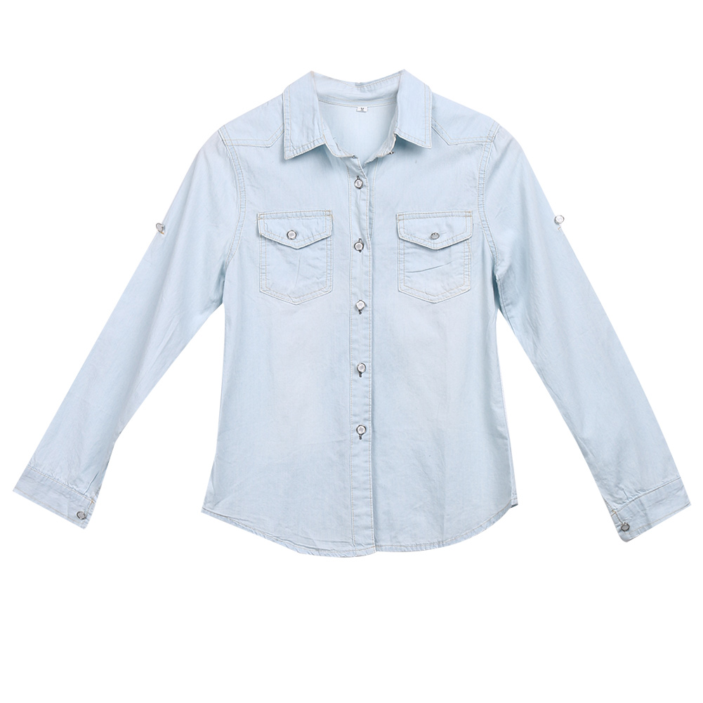 202a0335 Retro Women Casual Blue Jean Soft Denim Long Sleeve Shirt Tops Blouse  women's shirt blouses top