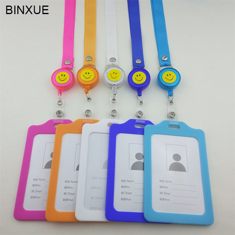 BINXUE Tuba Employee ID card Cover card,ID Holder identification tag staff badge 1 CM wide Lanyard Can hang, you can clip A7
