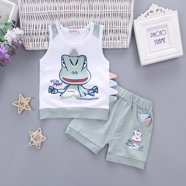 c311a9ec7 Korean Toddler Boy Two piece Set Cartoon Dinosaur Cotton Children s ...
