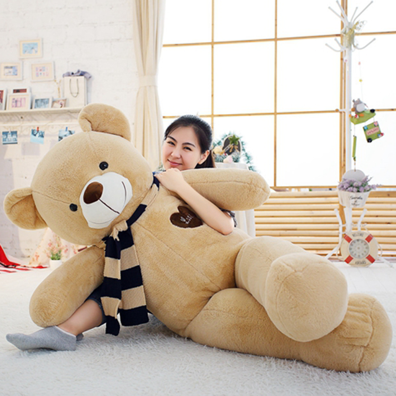 Soft Bigs Teddy Bears Stuffed Animal Plush Toy With Scarf 120cm 140cm 160cm 180cm Kawaii Large Bears For Kids Giant Pillow Dolls
