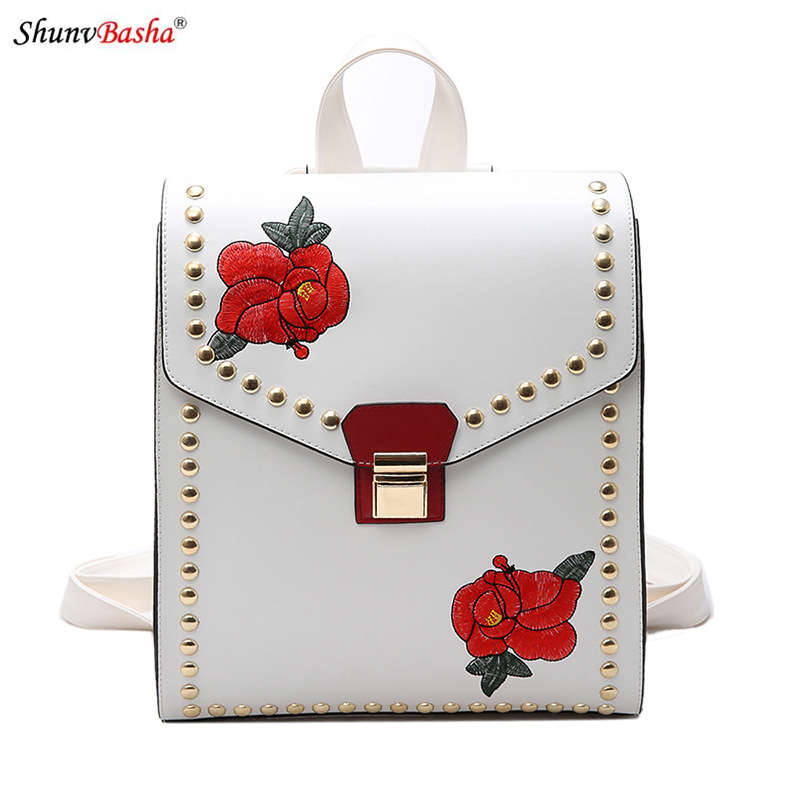 Shoulder Portable three use multi purpose bag travel embroidery rose bag 2017 Europe and America creative