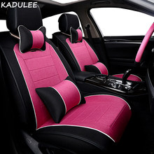 KADULEE flax car seat cover For vw golf 4 5 VOLKSWAGEN polo 6r 9n passat b5 b6 b7 accessories covers for vehicle seat(China)