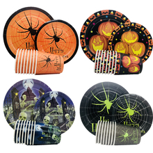 Omilut Halloween Paper Plates and Napkins Sets Pumpkin Party Decor Terror Disposable Tablecloth Banner