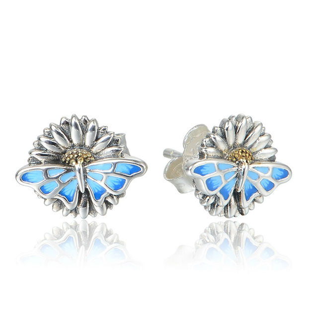 925 Silver Stud Earrings Enamel Butterfly On Flowers Original Fashion Earrings For Women Wedding Engagement 925 Silver Jewelry