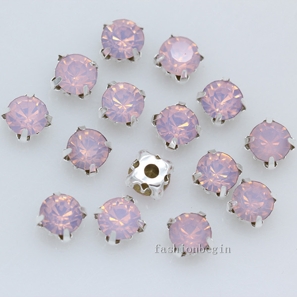 4mm 5mm 6mm 7mm 8mm pink opal Sew on Glass Crystal flatback diamante cup  rhinestones jewels silver Setting Montees loose beads d009009e8291