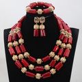 African Red Coral Beads Bridal Jewelry Set Real Coral Beaded Statement Necklace Set Gold Plated 4 Colors Free Shipping CNR776