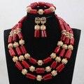 Red africana de Coral Perlas Joyería Nupcial Conjunto Coral Collar Moldeado Declaración Real CNR776 Conjunto Chapado En Oro de 4 Colores El Envío Libre