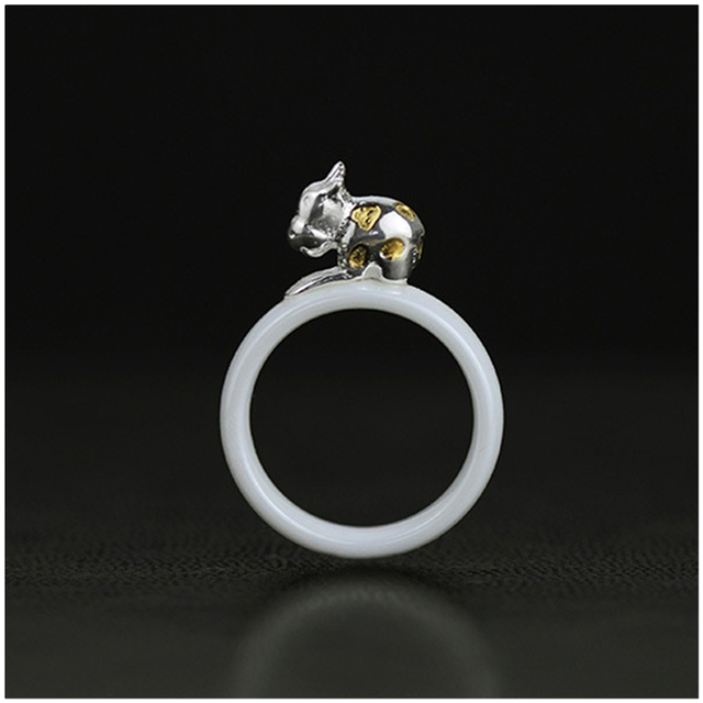 Genuine 925 Sterling Silver Rings Handmade Jewelry For Women Very Cute The Muddle Dairy Cow Design Ring Nano-Ceramics