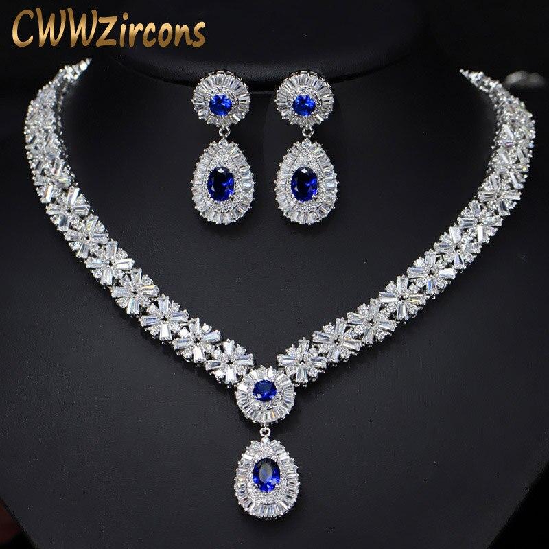 6 Couleurs Haute Qualité Africaine CZ Perles Grand Rouge Vert bleu Cubique Zircon De Luxe Femmes Bijoux Sets Pour Soirée T099