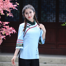 Chinese Traditional Tops Women  Cotton Linen Blouse Lady Summer  T-shirts  M to 3XL