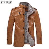 TIEPUS plus size M~6XL, 7XL, 8XL new leather jacket men's fleece warming motorcycle leather jacket men's slim PU leather jacket