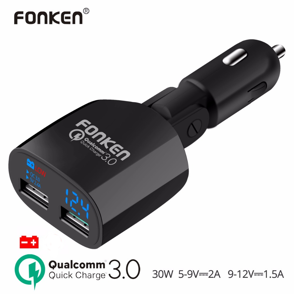 FONKEN Car Charger Quick Charge 3.0 Car-Charger Portable Dual USB Phone Quick Charger 30W Digital Display Low Voltage Warning