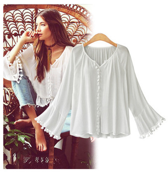 Ruoru New European Style Women Flare Bell Sleeve Feminina Shirt With Tassel Blouse Retro Top Female Blouse Women's Tunic tassel hem blouse