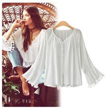 Ruoru New European Style Women Flare Bell Sleeve Feminina Shirt With Tassel Linen Blouse Retro Top