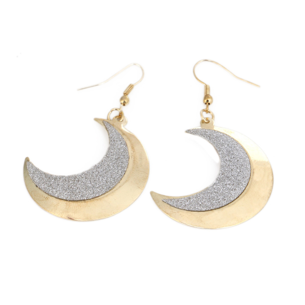 2017 Charming Jewelery Accessories Color Silver Moon Shaped Frosted Wild Woman Earrings