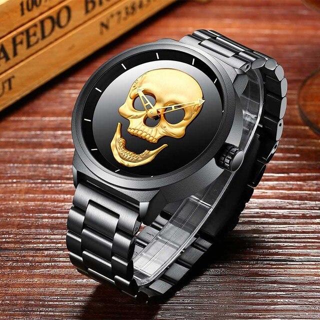 Montre à Quartz pour hommes Punk crâne Unique mode 3D étanche de luxe pour hommes montres en acier inoxydable horloge de sport Relogio Masculino