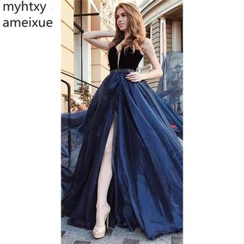 2019 New Elegant Sexy Robe Evening Dress A-line Formal Prom Party Dresses Sweep Train Sleeveless  Evening Gown Custom Made
