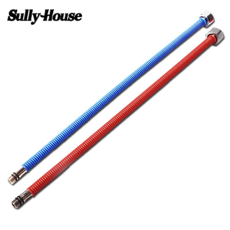 Sully casa 304 SUS rojo $ azul agua tejida manguera acanalado de la plomería, conexión flexible tubos 1/2 ''Standard interfaz