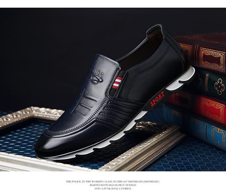 Sapatos casuais masculinos de couro genuíno marca