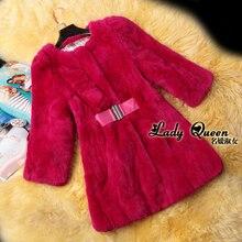2013 autumn winter hot big size Korean brand fashion ladies Slim medium long natural rex Rabbit fur coat with belt M-XXXL D2082