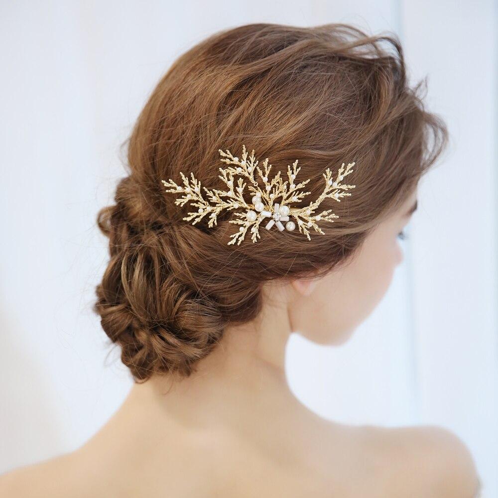 handmade gold color metal leaves