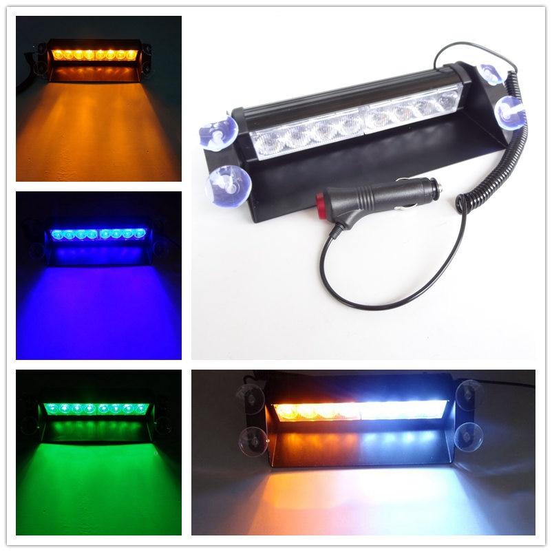 2017 Auto-Styling Universial Superior Brillantemente 8 LED Auto Della Polizia Strobe Flash Luci Dash Emergency Warning Lampeggiante Nebbia Lightbars