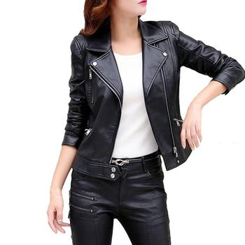 Free Ostrich Jacket Women Leather Coat 2017 Plus Size Female Outerwear Slim Short Leather Jacket Women Clothes Dropshipping plus size women in leather