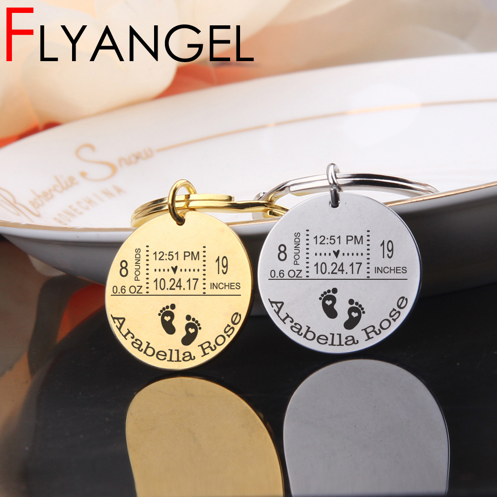 FLYANGEL Personalized Baby Mirror Style Keychain Father's Day Gifts New Baby Birthday Weight Time Statistics Keyring