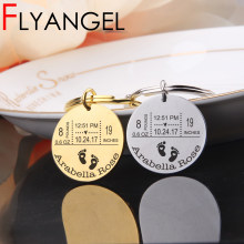 FLYANGEL Personalized Baby Mirror Style Keychain Father's Day Gifts New Baby Birthday Weight Time Statistics Keyring(China)
