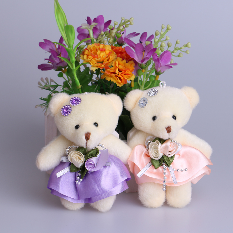 NEW Flower Bouquets Bear Plush Stuff Toys Doll Mini Promotional Phone Chain Charm Mixed Color For 20pcs/lot Home Decoration Bear