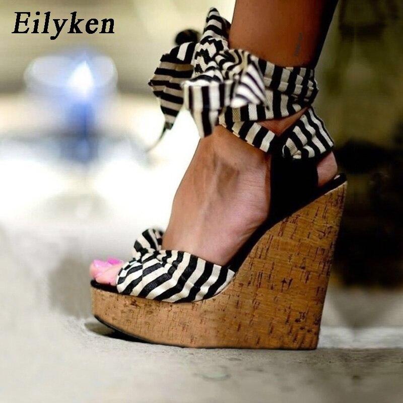 Eilyken 2018 New Designer Cotton Fabric Summer Roman Sandals High Quality Wedges High Heels Sexy Peep Toe Platform Shoes Woman