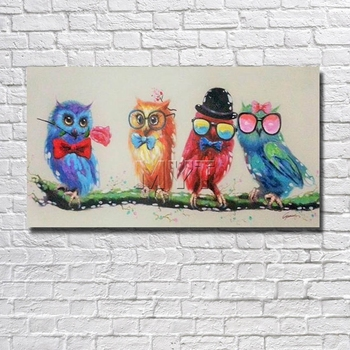 Cartoon Funny Birds Canvas  Wall Art  Oil Painting  Decor Home  Living Room Pictures With Framework Painting Animal Pictures